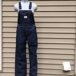Vintage denim bib overalls button fly Sz XS/S